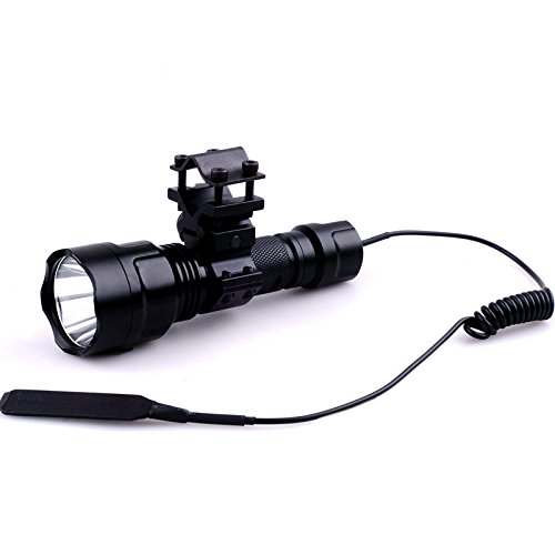 Cree Green Led Hunting Light 300Lm Tactical Flashlight W/ Remote Pressure Switch (Barrel Mount)