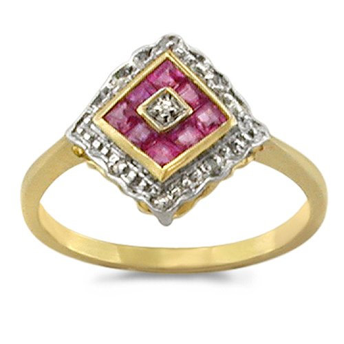 9ct Yellow Gold Ladies Diamond Shape Square Ruby and Diamond Dress Ring Set w...