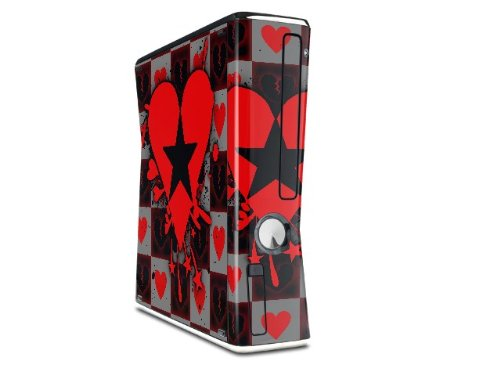 Emo Star Heart Decal Style Skin for XBOX 360 Slim Vertical (OEM Packaging) wood grain oak 01 holiday bundle decal style skin set fits xbox one console kinect and 2 controllers xbox system sold separately