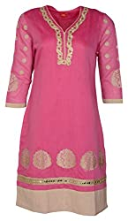 Zele Women's Straight Kurti (Z0014_Multi-Colour_Large)