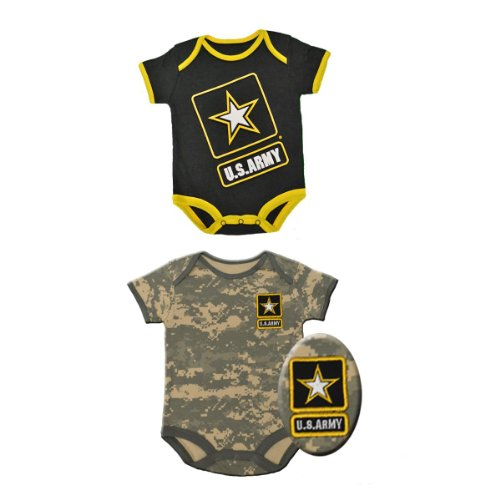2Pk Infant Baby Acu Army Outfits - Black & Camo Gift Sets (6-9 Month) front-476141