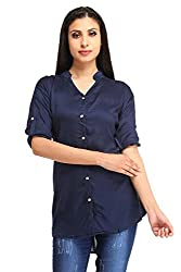 Snoby Blue Rayon Plain Shirt (SBY1164)