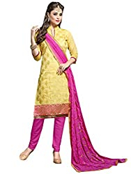 Inddus Women Yellow & Pink Embroidered Unstitched Chanderi Dress Material