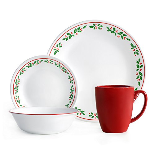 Corelle Livingware 16-Piece Dinnerware Set, Winter Holly, Service for 4 (Christmas Dishes compare prices)