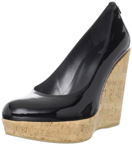 Stuart Weitzman Women's Corkswoon Wedge Pump,Black Patent,8 M US