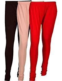 Cotton Leggings (Culture The Dignity Women's Cotton Leggings Combo Of 3_CTDCL_B2CR_BROWN-CREAM-RED_FREESIZE)