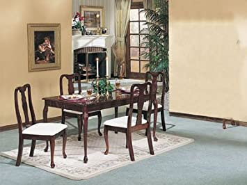 5-pc Queen Anne Design Dining Table Set Dark Cherry Finish ACS 60003