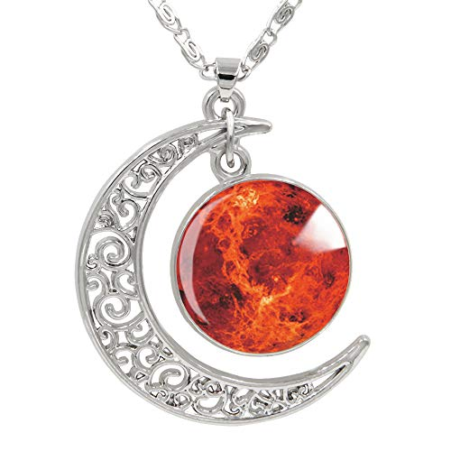 "FANSING Womens Marvelous Necklace, Mars Pendant Necklaces, Universe Planet Jewelry, 18"" + 2"" Chain"
