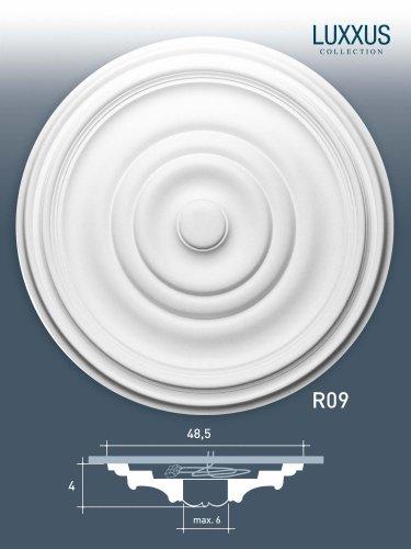ORAC R09 Ceiling Rose Rosette Medallion Centre quality polyurethane classic style decor white | 48 cm = 18 inch diameter