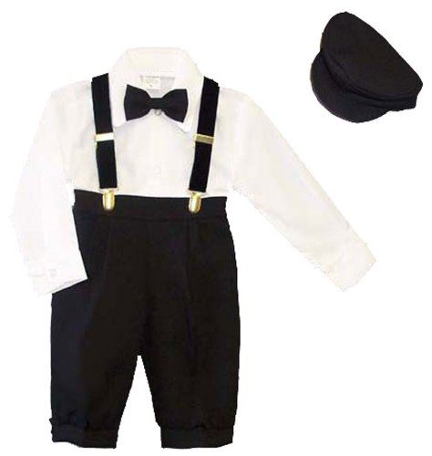 Infants 5-pc Knickers Outfit Tuxedo Style with Velvet Suspenders, Bowtie, Newsboy Cap (Infants 12 months)