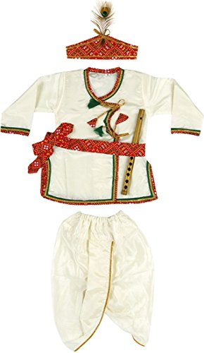 [Baby Boys Girls Angrakha Dhot Kid Janmashtmi Special Costume Dress Set] (Ethnic Dance Costume)