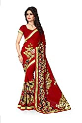 Drapme Floral Print Red Georgette Saree with Designer Printed Blouse