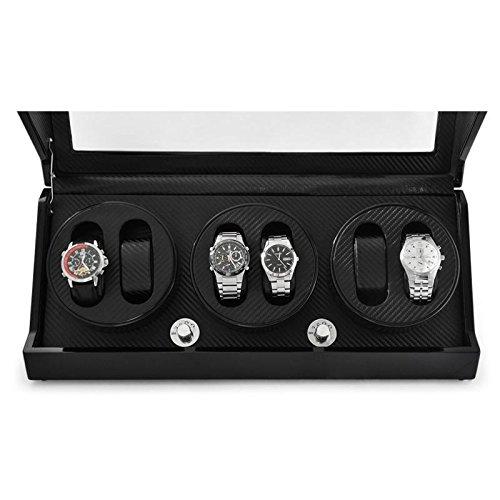 Klarstein repräsentativer Uhrenbeweger für 6 Uhren in Karbon-Optik handgearbeitet (4 Programme, integr. Akku) leise - 5