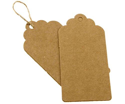 100pcs Papier Kraft Brun Étiquettes de Prix Soirée Mariage Étiquette Cartes-cadeaux