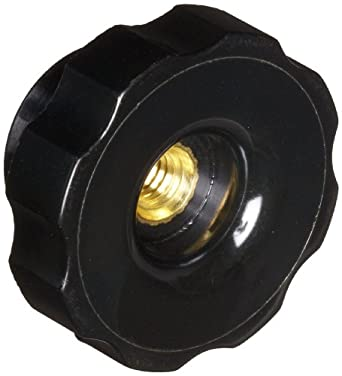"DimcoGray Black Phenolic Fluted Torque Knob Female, Thru Hole Brass Insert: 5/16-18"" Thread x 5/8"" Depth, 1-3/4"" Diameter x 61/64"" Height x 1-1/6"" Hub Dia x 1/2"" Hub Length  (Pack of 10)"