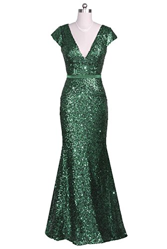Vampal Emerald Green Long Fully Sequined Cap Sleeve V Neck Prom Party Dresses 12