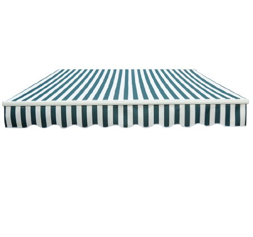 3m x 2.5m Garden Patio Manual Awning Canopy Sun Shade Shelter Green and White