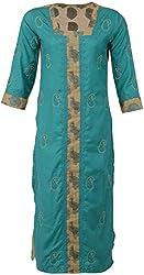 ALMAS Lucknow Chikan Synthetic Regular Fit Kurti (Turqoise Green)