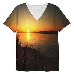 Snoogg Sun Rising Mens Casual V Neck All Over Printed T Shirts Tees