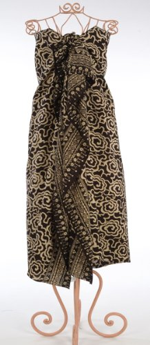 Black on Cream Flower Power Batik Sarong