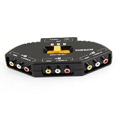 TV Game AV Audio Black 3 Ports Multi Selector Yellow Switch Box