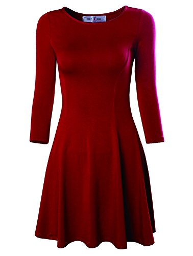 Tom's Ware Women's Casual Slim Fit and Flare Round Neckline Dress TWCWD052-RED-US S/M