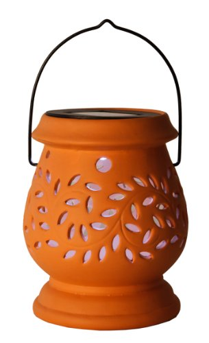 Best Season 477-48 LED Solar Clay Lantern 1 Cool Light LED with Solar Panel with Battery / Outdoor / Terracotta