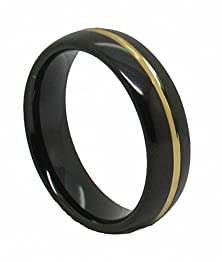 buy Queenwish 6Mm Black Tungsten 24K Gold Plated Center Grooved Polished Engagement Wedding Band Ring Size 6.5