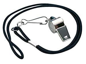 Markwort Nickel Plated Whistle and  Black Lanyard Combo