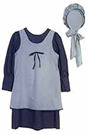 1228 (Large 14-16, Blue) Schoolgirl Dress Apron & Bonnet Set