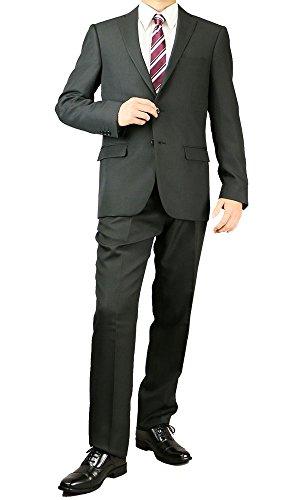 メンズ スリムスーツ ビジネススーツ リクルート 黒 オールシーズン 65003 65003(ブラック) A体7号(LL)