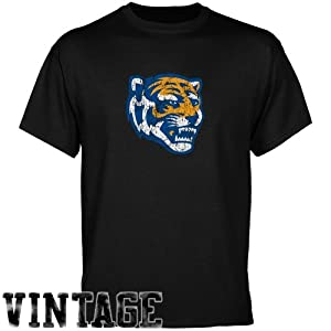NCAA Memphis Tigers Black Distressed Logo Vintage T-shirt (Medium)