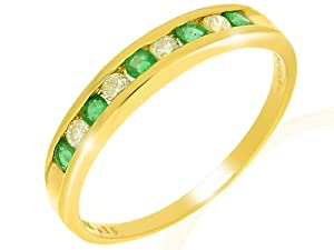 Ivy Gems 9ct Yellow Gold Emerald and Diamond Channel Set Half Eternity Ring Size O