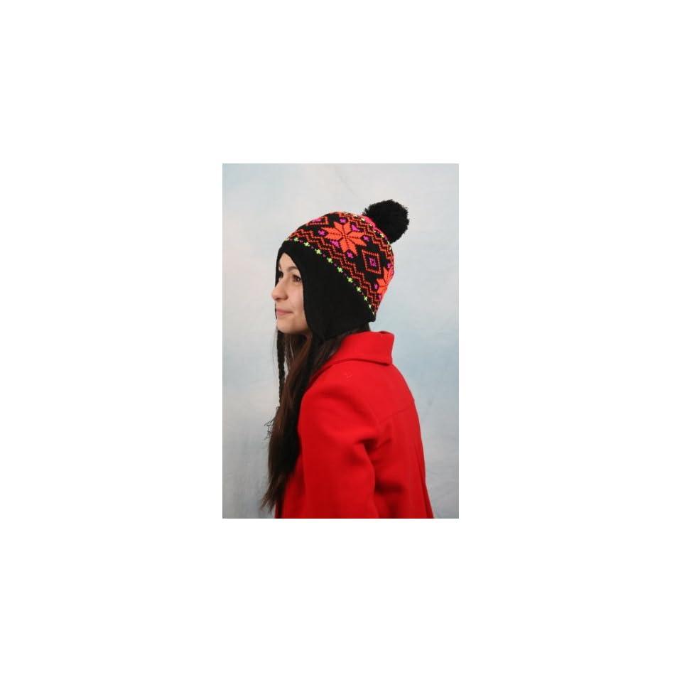 Womens Knit Peruvian Trapper Knit Winter Ear Flap Hat P210