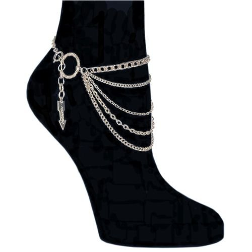 5 Row Chain Anklet, Medium In Silver Tone