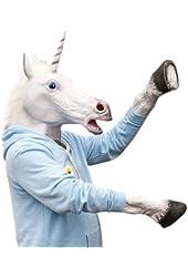 SHEENROAD Novelty Unicorn Head Latex Mask + Unicorn Hooves Gloves
