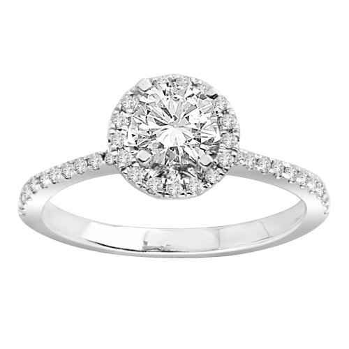 Wedding& Engagement Rings IGI Certified 18k White Gold 70 carat Round C