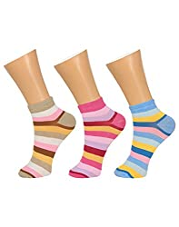 Gumber Pack of 3 Pairs of Multicoloured Striped No Show Socks(GE_LOAFER_PATTA_3PC_1)