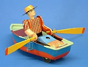 """Vintage Style 4.75"""" Tin Old Timer Row Boat"""