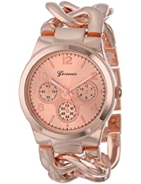 Geneva Women's 2380-Rose-GEN Rose Gold-Tone Watch With Link Bracelet
