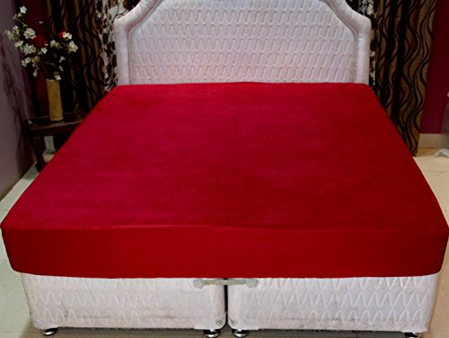 Trance Home Linen Waterproof & Dustproof Mattress Protector King Size- 78″x72″ MAROON