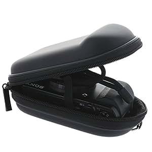 Kameratasche mit glatter Oberfläche inkl. Handschlaufe und Karabiner - Größe Kompaktkamera M - Schwarz