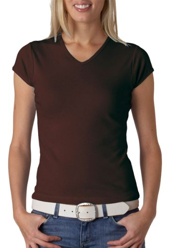 Bella 1005 Ladies 1X1 Baby Rib V-Neck T-Shirt - Chocolate - M
