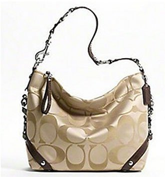 Coach Signature 24cm Sateen Carly Duffle Hobo Shoulder Bag Purse 15520 Khaki