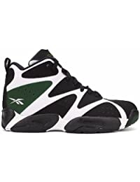 Reebok Kamikaze I Mid Basketball Shoes - White/Black/Green (Mens)