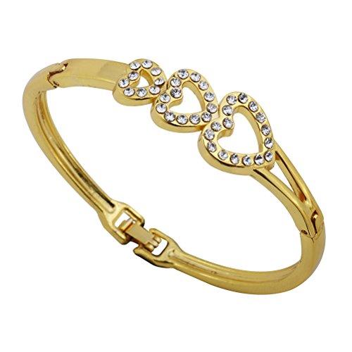 Amybria Jewelry 3 Heart Shape Gold Bracelet For