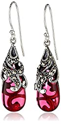 Sterling Silver Marcasite and Red Glass Teardrop Earrings
