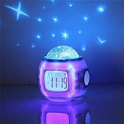Music Starry Sky Calendar Children Room Night Lights Projector Lamp Bedroom Alarm Clock