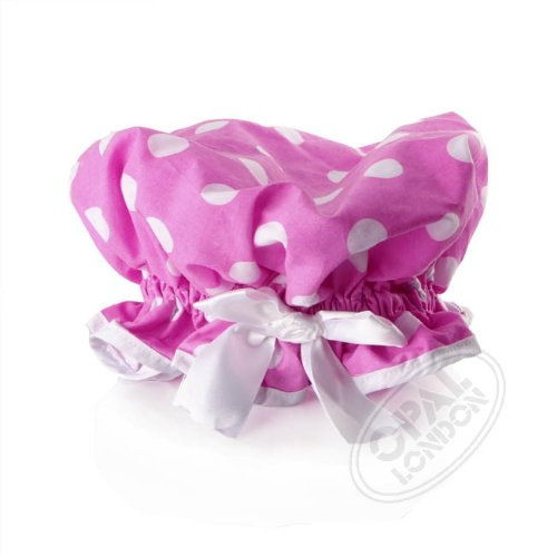 Gorgeous Glam Polka Dot Print Shower Cap - Pink /White
