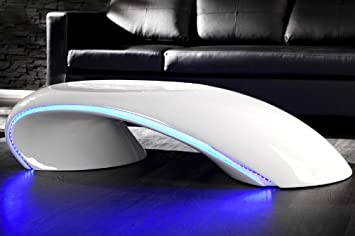 DuNord Tubo Tavolino con illuminazione a LED, White, 135cm x 61cm x 33cm